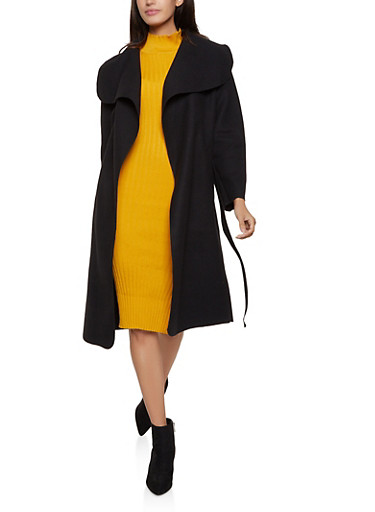 Solid Wrap Coat,BLACK,large