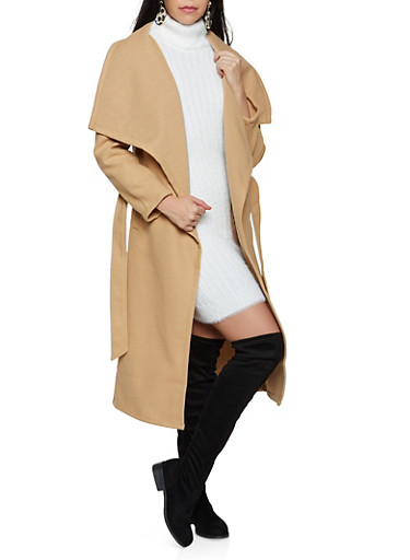 Basic Wrap Coat,KHAKI,large