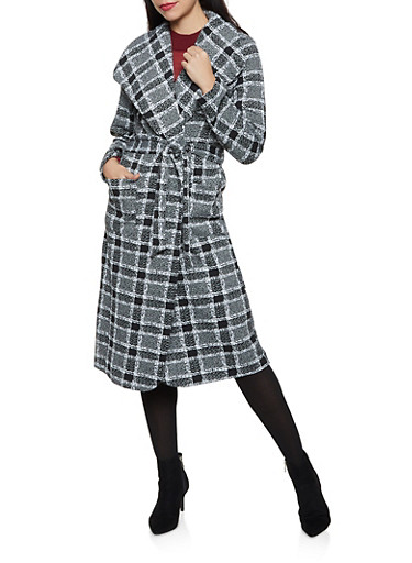 Printed Wrap Coat,BLACK/WHITE,large