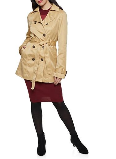 Faux Fur Lined Trench Coat,KHAKI,large