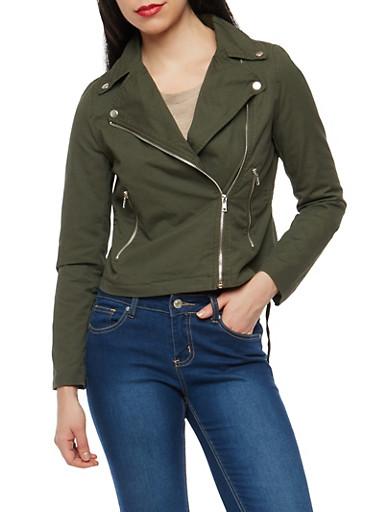 Asymmetrical Zip Twill Moto Jacket,OLIVE S,large