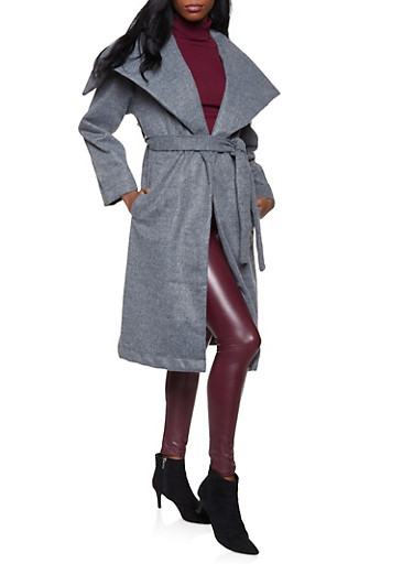 Belted Wrap Coat,CHARCOAL,large