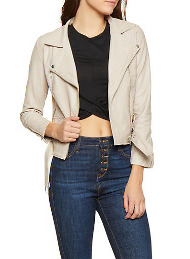 Belted Faux Leather Moto Jacket,BEIGE,large