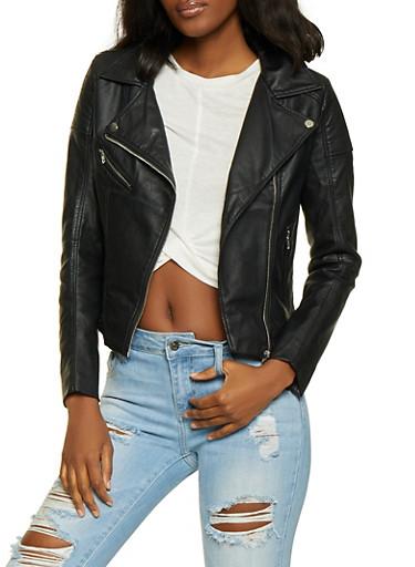 Asymmetrical Zip Moto Jacket,BLACK,large