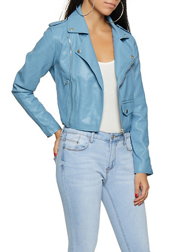 Faux Leather Zipper Detail Moto Jacket,DENIM,large