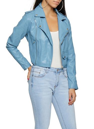 Faux Leather Moto Jacket,DENIM,large