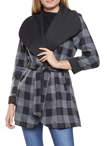 Plaid Tie Waist Trench Coat,GRAY,large