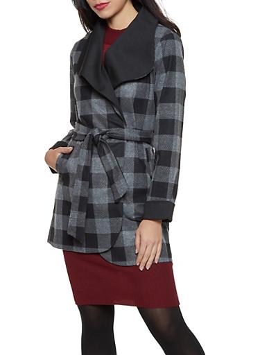 Plaid Wrap Coat,CHARCOAL,large