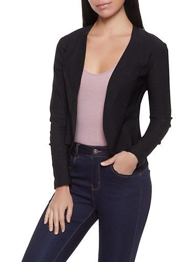Open Front Blazer,BLACK,large
