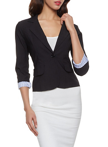Stretch Roll Cuff Blazer,BLACK,large
