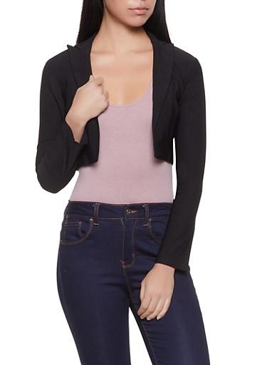Cropped Stretch Blazer,BLACK,large