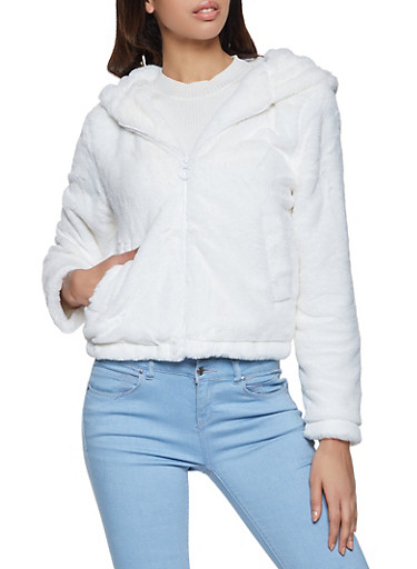 Hooded Faux Fur Zip Front Jacket,IVORY,large