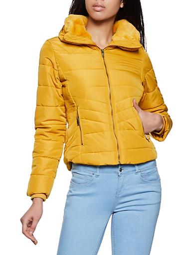 Ribbed Panel Puffer Jacket,MUSTARD,large