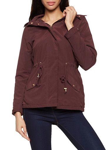 Hooded Faux Fur Lined Anorak Jacket,BROWN,large