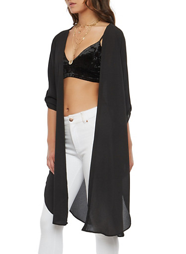 Crepe Knit Duster,BLACK,large