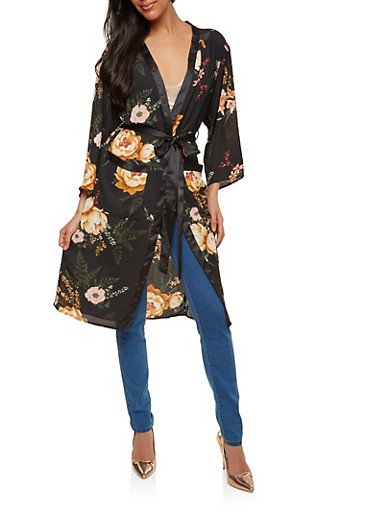 Floral Tie Waist Kimono,BLACK,large