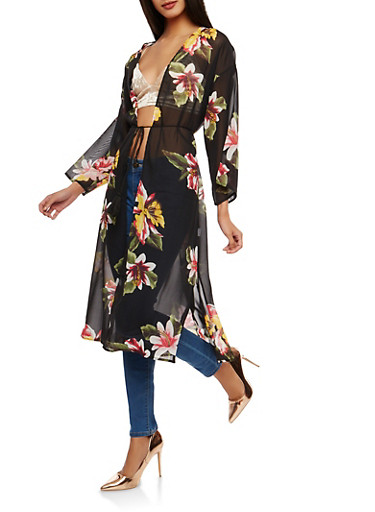 Floral Chiffon Kimono,BLACK,large