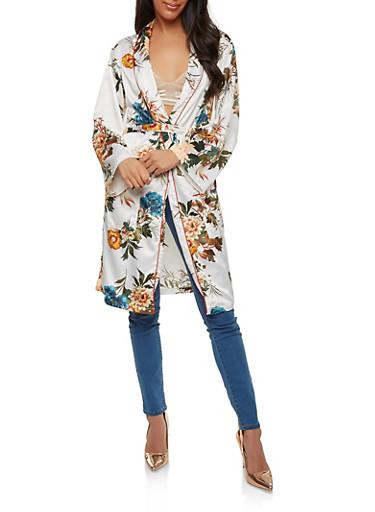 Floral Satin Tie Waist Kimono,IVORY,large