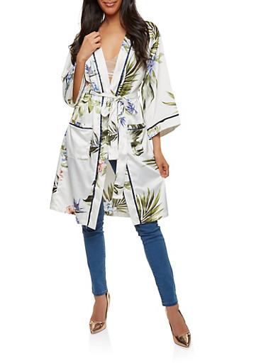 Floral Satin Kimono,IVORY,large