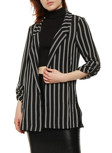 Striped Roll Cuff Blazer,BLACK,large