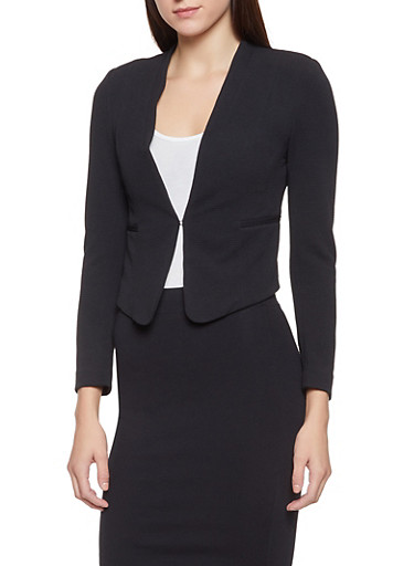 Textured Knit Front Closure Blazer,BLACK,large