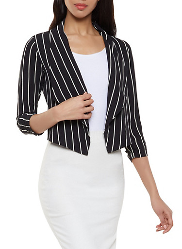 Striped Crepe Knit Flyaway Blazer,BLACK/WHITE,large