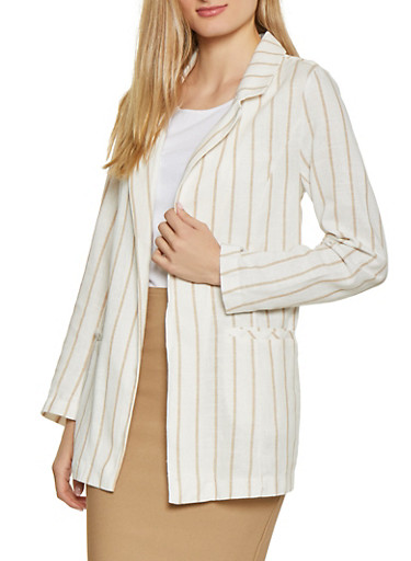 Striped Linen Blazer,NUDE,large