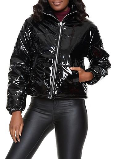 Faux Patent Leather Bubble Jacket,BLACK,large