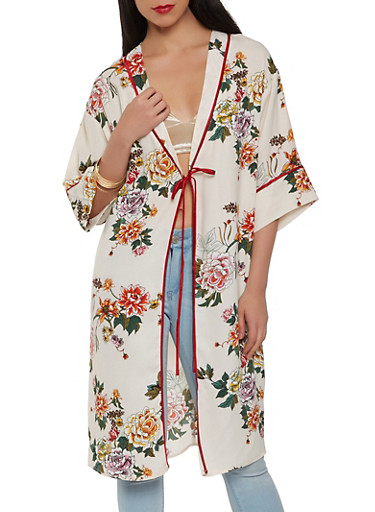Floral Tie Front Duster,IVORY,large