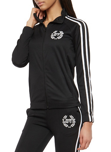 Love Graphic Side Stripe Track Jacket,BLACK,large