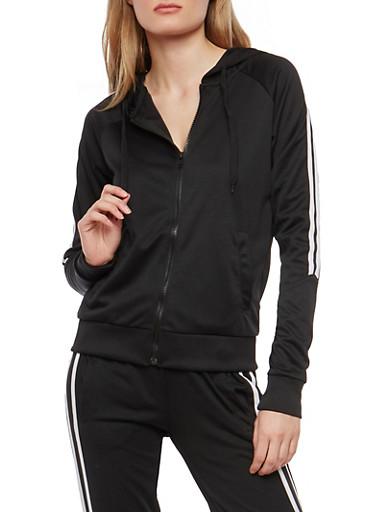 Side Stripe Sweatshirt,BLACK,large