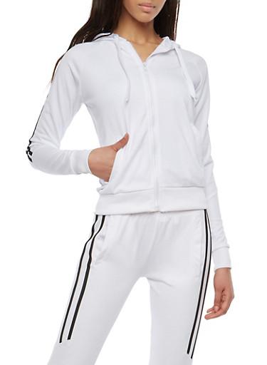 Side Stripe Sweatshirt,WHITE,large