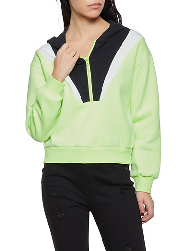 Color Block Hooded Sweatshirt,BLACK,large