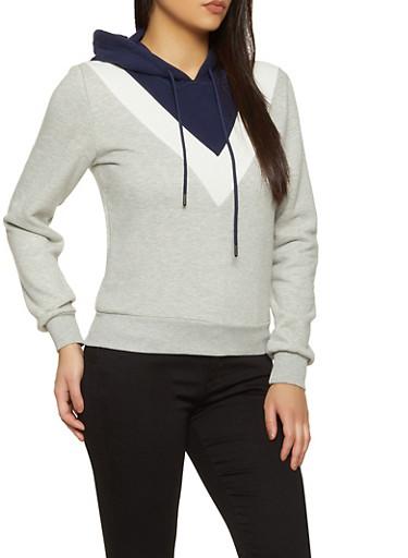 Color Block Chevron Fleece Sweatshirt,NAVY,large