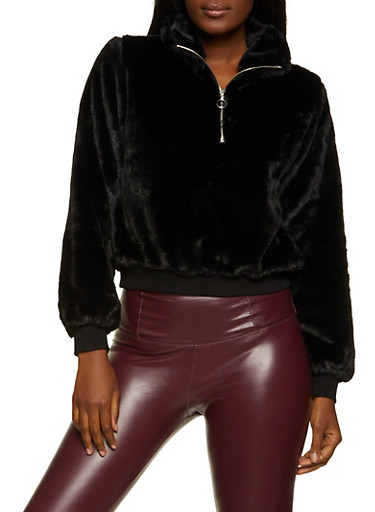 Faux Fur Zip Pullover Sweatshirt,BLACK,large