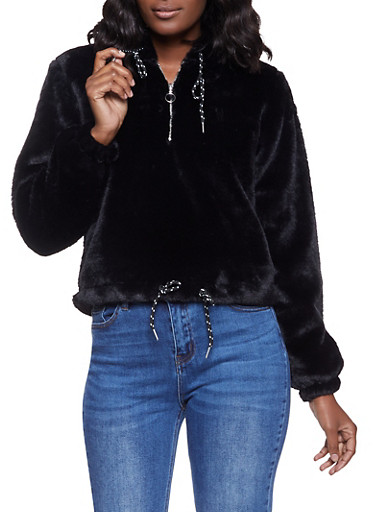 Hooded Faux Fur Half Zip Sweatshirt,BLACK,large