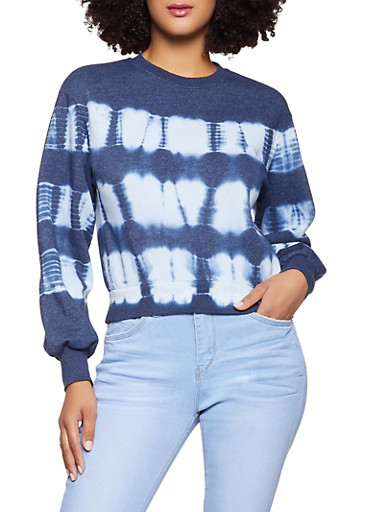 Tie Dye Sweatshirt,NAVY,large