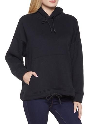 Oversized Fleece Sweatshirt,BLACK,large