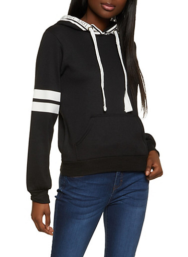 Love Trim Hooded Sweatshirt,BLACK,large