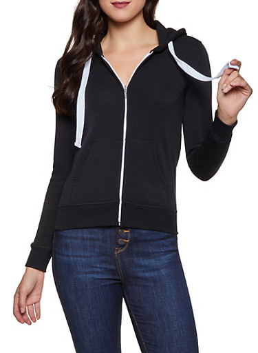 Solid Fleece Lined Zip Front Sweatshirt,BLACK,large