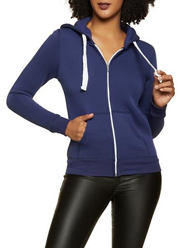 Solid Zip Front Sweatshirt,NAVY,large