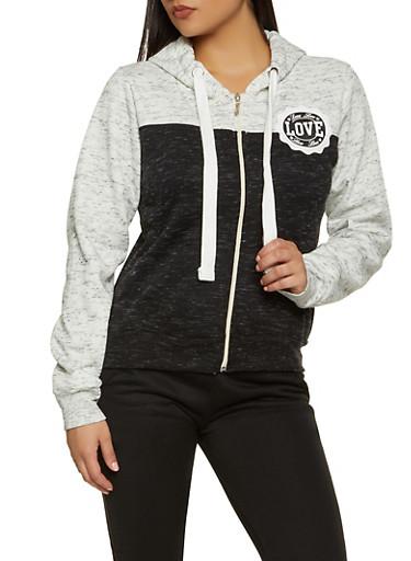 Color Block Love Zip Up Sweatshirt,BLACK,large
