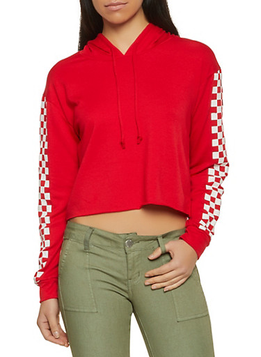 Raw Hem Checkered Sleeve Hooded Sweatshirt,RED,large