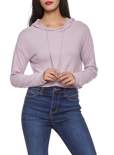 Brushed Knit Sweatshirt,LAVENDER,large