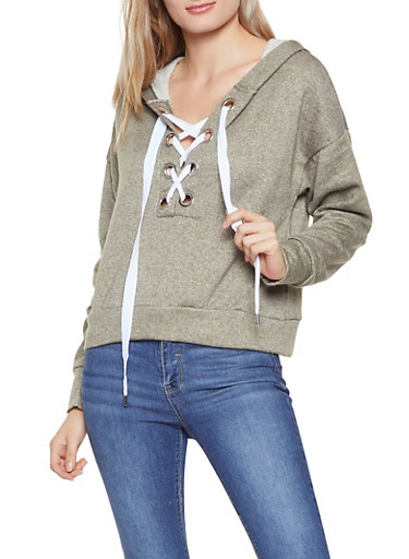 Grommet Lace Up Hooded Sweatshirt,OLIVE,large