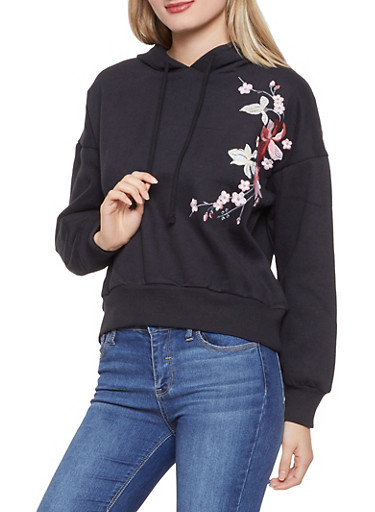 Floral Embroidered Hooded Sweatshirt,BLACK,large