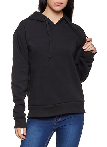Solid Pullover Fleece Lined Sweatshirt,BLACK,large