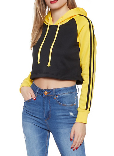 Color Block Varsity Stripe Sweatshirt,BLACK,large