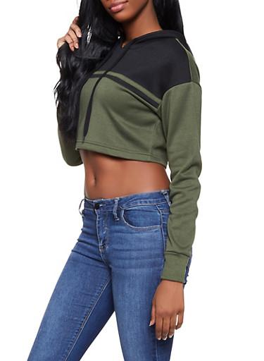 Color Block Cropped Sweatshirt,OLIVE,large
