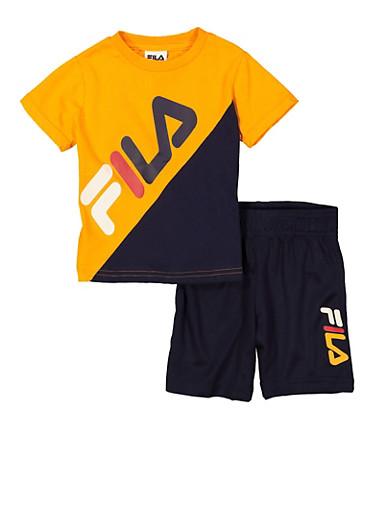 Toddler Boys Fila Color Block Tee and Shorts Set,NAVY,large
